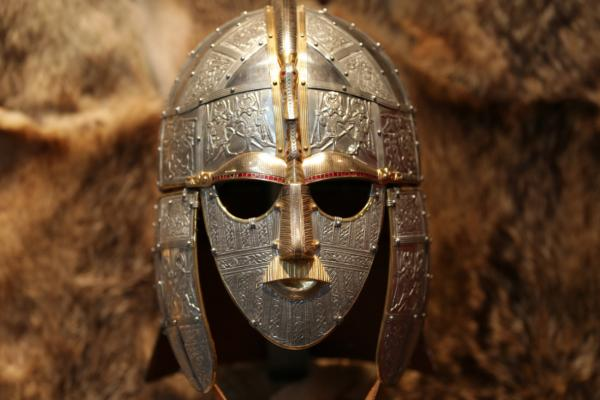 Sutton Hoo, ancient Anglo-Saxon helmet and mask