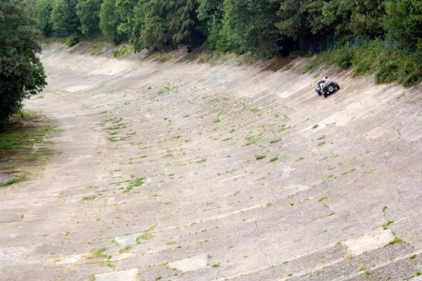 Classic car on Brooklands banked racetrack