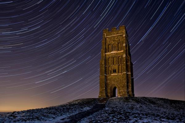 Glastonbury Tor with starlight