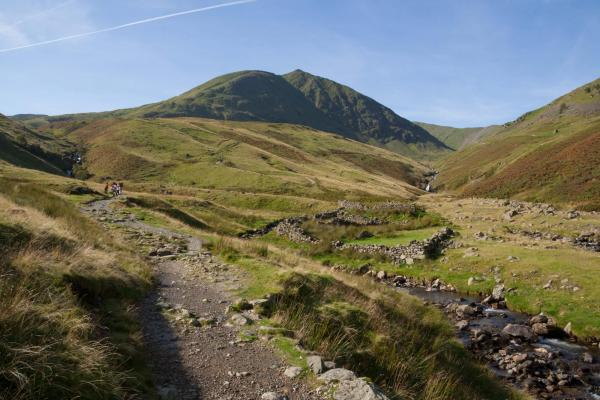 Helvellyn mountain near Glenridding with walkers on path
