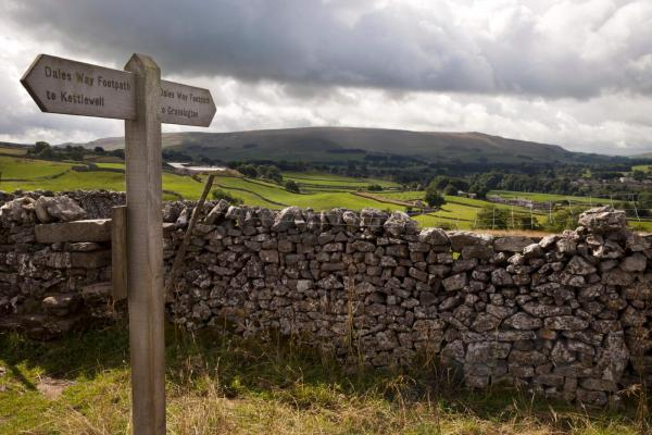 Footpath sign between Kettlewell and Grassington, with a view