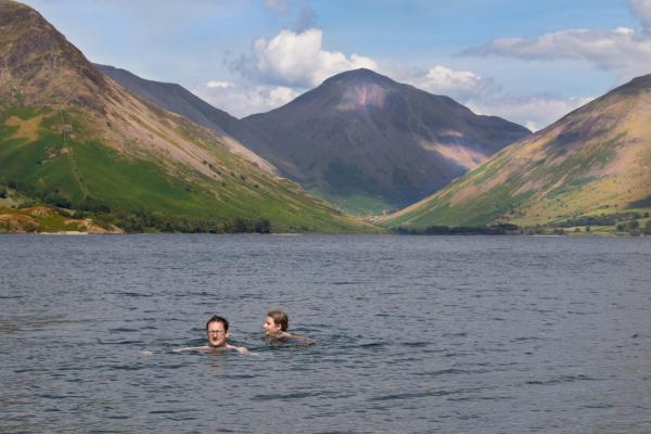 Relaxing swim in Wast Water