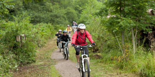 Group of people mountain biking down a dirt track