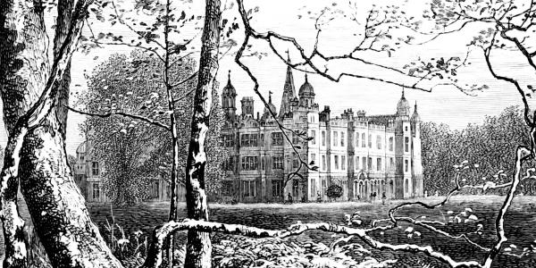 Burghley House, a linograph