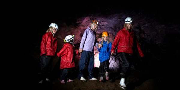 Group of kids caving