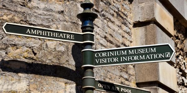 Sign to Corinium Museum and Roman Amphitheatre