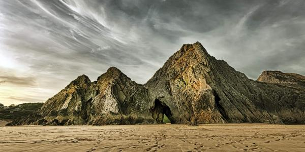 Three Cliffs Bay, jagged and dramatic, Gower
