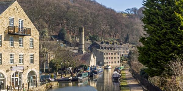 Mill buildings on edge of Rochdale Canal, Hebden Bridge