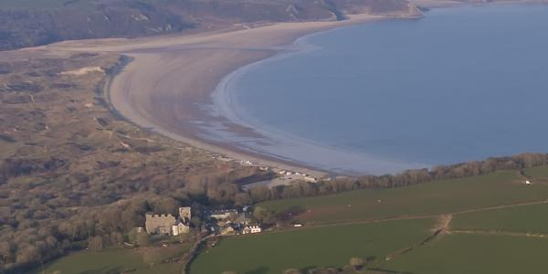 Oxwich Castle with Oxwich Bay