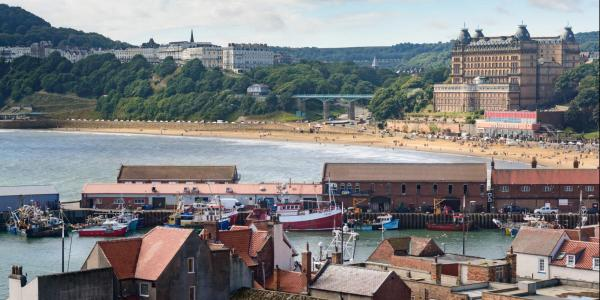 Scarborough seafront with the Rotunda Museum just out of sight in the centre