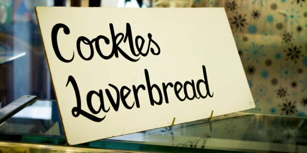 Welsh laverbread and cockles sign