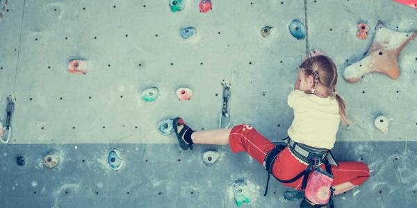 Person climbing on a climbing wall