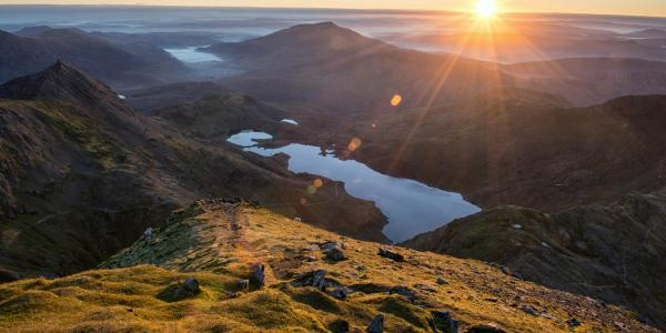 Sunrise over Snowdonia viewed from the tops