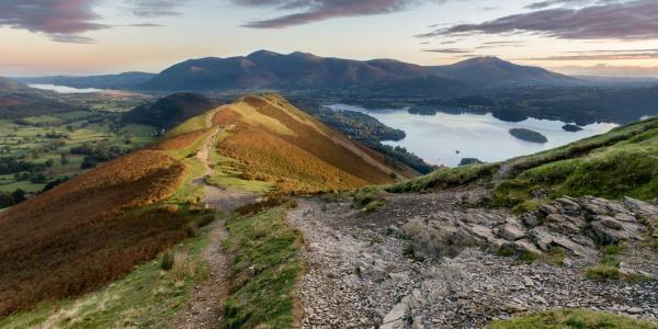Walking and Rambling on Skiddaw, view along the ridge path